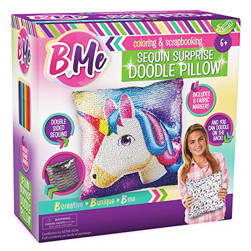 B Me Sequin Unicorn Pillow for Girls - Reversible Double Sided Rainbow Doodle Sequined Pillows - Bedroom Decor Art - Creative Magic Glitter Pillow with 8 Markers - Perfect Birthday Girl Gift Age 6+