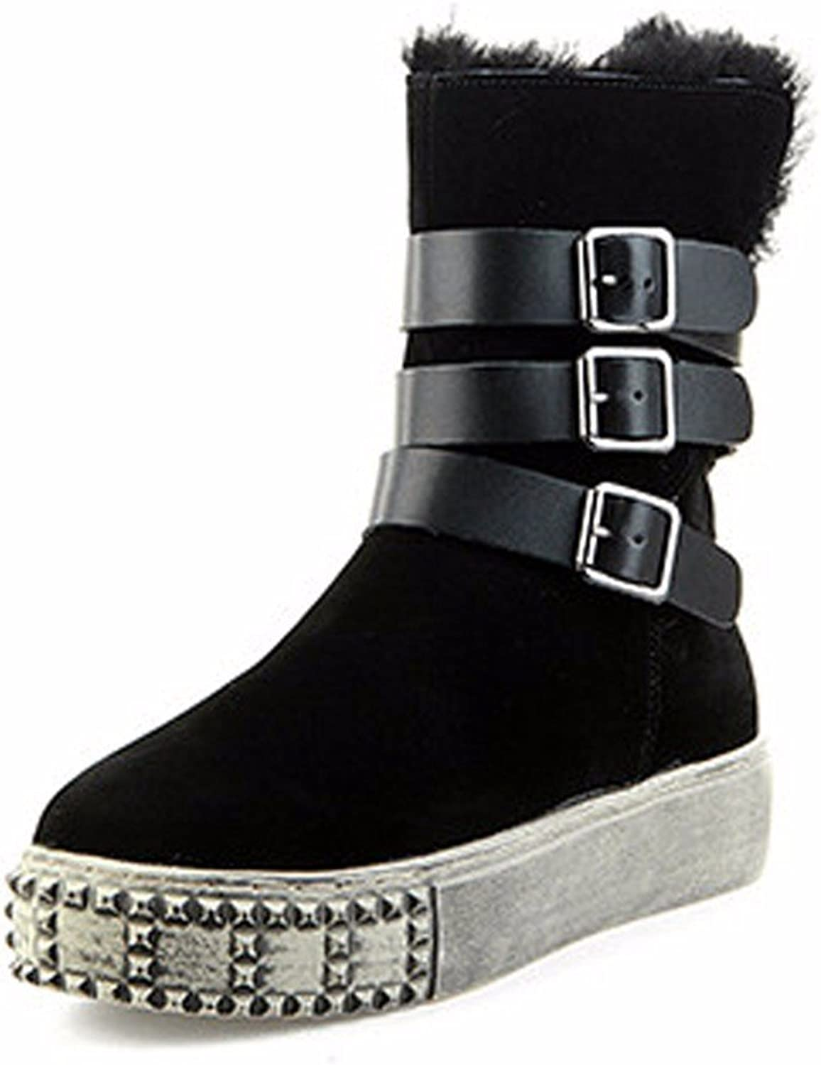 YJNB New Low In Autumn And Winter With Flat Round Head Rivet Belt Buckle Boot In Thick Warm Boots
