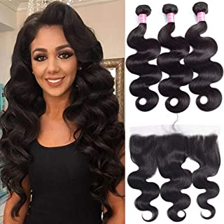 FQ Brazilian Body Wave Bundles with Frontal Human Hair Bundles with Lace Frontal(14 16 18+ frontal 12