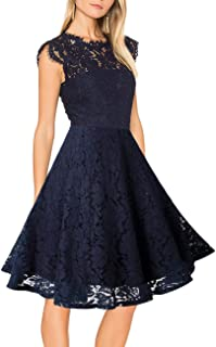 2e9a440fe54 MEROKEETY Women s Sleeveless Lace Floral Elegant Cocktail Dress Crew Neck  Knee Length for Party