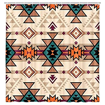 Southwest Shower Curtain Ethnic Retro Color Tribal Navajo Aztec Fancy Abstract Geometric Hipster Design Bathroom Decor Waterproof Fabric Shower Curtain Set with 12 pcs Hooks