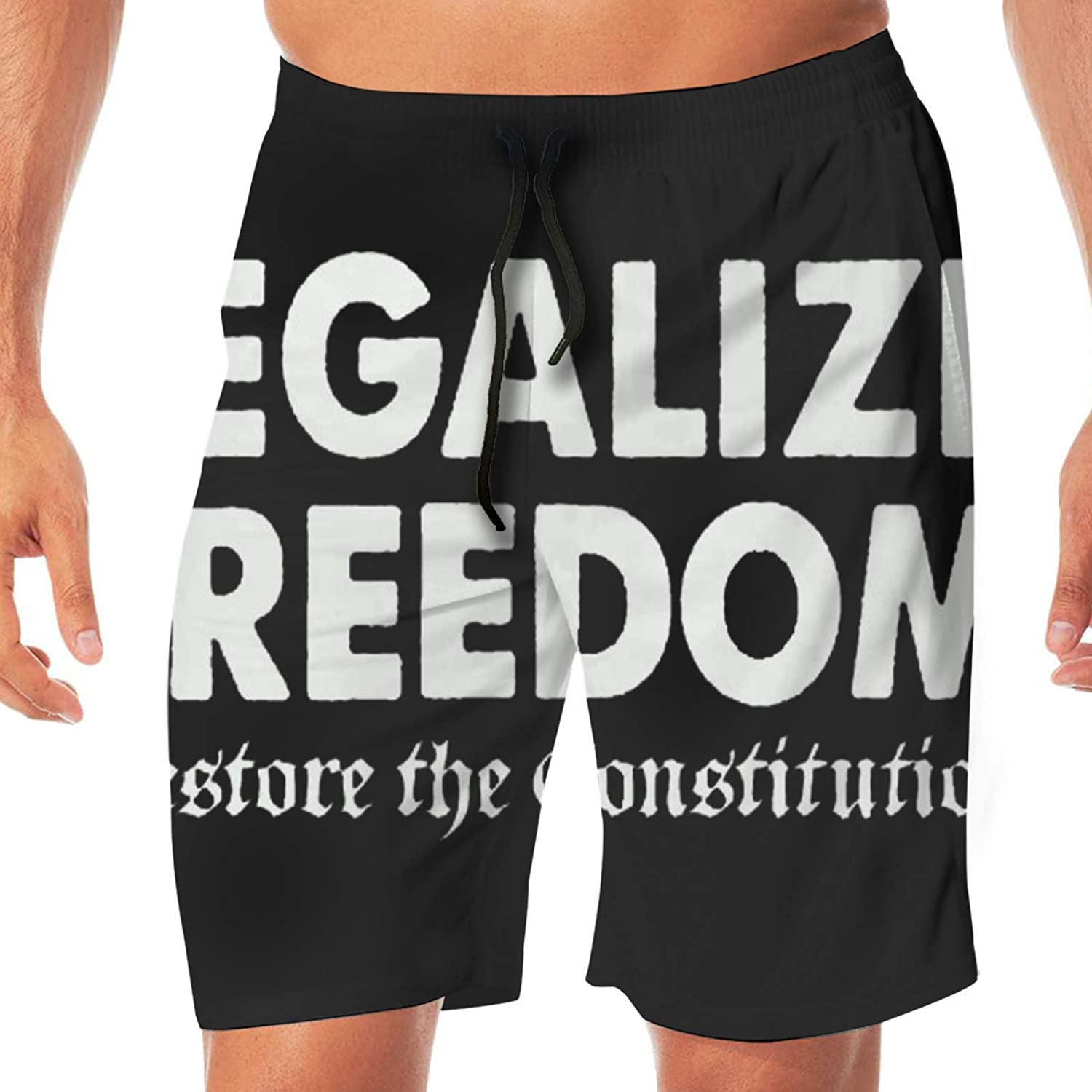 RUIHGK Legalize Freedom, Restore The Constitution Mens Summer Swim Trunks Quick Dry Funny Beach Board Shorts Casual Pants Printing White