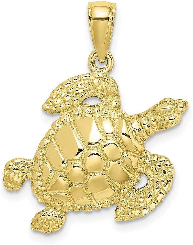 New color 10K Yellow Gold Charm Under blast sales Pendant Turtle