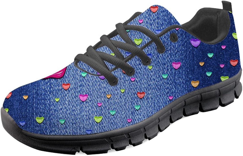 HUGS IDEA Denim Print Lightweight Running shoes Women Girl Casual Sport Walking Sneakers