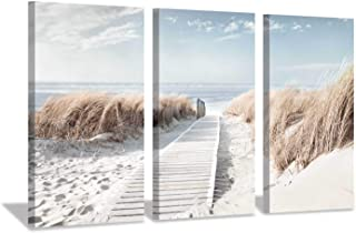 Hardy Gallery Beach Scene Picture Coastal Painting: Oceanside Sea Grass Trail Artwork on Canvas Print for Office(26''x16''x3pcs)