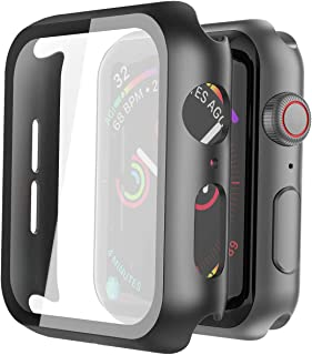 Misxi Black Hard Case Compatible with Apple Watch Series 5 Series 4 40mm with Screen Protector, Hard PC Case Slim Tempered Glass Screen Protector Overall Protective Cover for iwatch Series 5/4