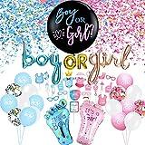 Juego de decoración de fiesta de género, 64 unidades, decoración de globos de rosa y azul, globo de confeti para niña o niño revelar género, bandera y cabina de fotos accesorios para baby shower