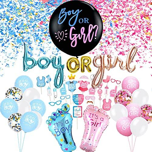 Gender Reveal Party Deko Set, XXL Boy or Girl Konfetti Ballon, Foto Requisiten, Rosa Blau Folienballon Latexballons, Geschlecht Verkünden Dekoration für Baby Shower