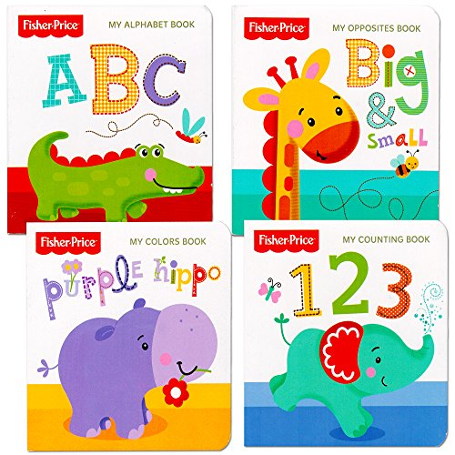 Fisher-Price 'My First Books Set of 4 Baby Toddler Board Books (ABC Book, Colors Book, Numbers Book, Opposites Book)
