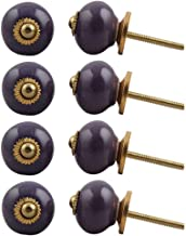 Indian-Shelf Handmade Ceramic Solid Drawer Knobs Wardrobe Pulls Cabinet Handle(Purple, 1.1 Inches)-Pack of 8