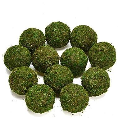 Byher Natural Green Moss Decorative Ball,Handmade (2.8 -set of 6)