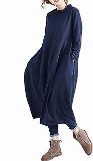 ワンピースレディース 長袖 マキシワンピース大きいサイズ秋 冬 ロング 体型カバー Aライン ゆったり カジュアル 着痩せ