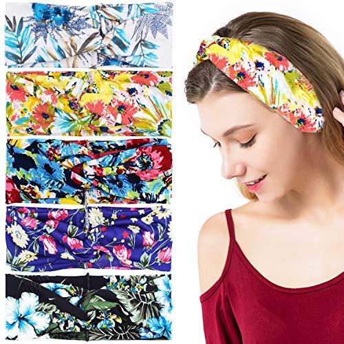 Vrouwelijke Hoofdband Boho Retro Elastische Haarband, Vrouwelijke Haarband Meisje Haaraccessoires Yoga Hoofdband (5 stks)