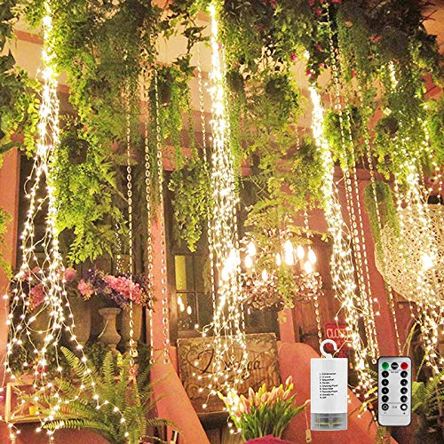 PXB 220 LED Firefly Bunch Lights Watering Can Lights, Battery Operated Remote Control Timing Function 8 Modes Waterproof Copper Wire Waterfall Lights, Fairy String Lights for Indoor Wedding Christmas