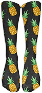 Print Juicy Pineapple-tumblr-iphone-wallpaper-wallpapers-tumblr Spandex Cartoon Casual Compression Knee Socks Smooth Volleyball For Girls Over Knee Long Tube Socks