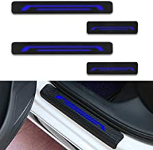 For LEXUS HS250h IS300 LC500h LX570 Door Sill Protector Reflective 4D Carbon Fiber Sticker Door Entry Guard Door Sill Scuff Plate Stickers Auto Accessories 4Pcs Blue