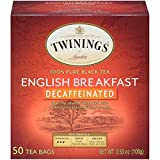 Twinings of London Decaffeinated English Breakfast Herbal Tea Bags, 50 Count (Pack of 6)
