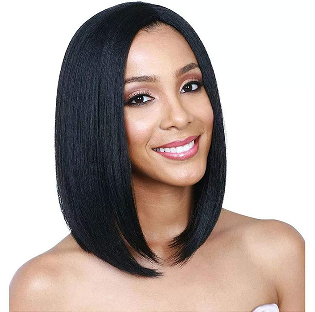 汚い普通の実業家女性のかつらボブストレート人工毛ウィッグ耐熱繊維グルーレス髪の毎日パーティーグラデーション150%高密度