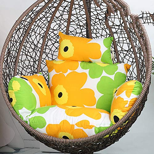 Thicken Hammock Chair Cushions with Removable Washable Hanging Egg Swing Chair Pads for Garden and Patio Chair Back Cushion for Double,Cottoninnerbag-New Sunflower