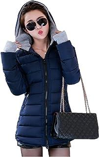 bc9abb56ba3bf9 Abrigo de Invierno Cremallera Acolchado Chaqueta Largo con Capucha de Manga  Larga para Mujer