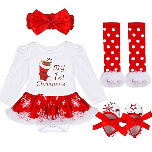 YiZYiF Toddlers Girls My First Christmas Party Costume Babies Lovely Long  Sleeve Fancy Dress Outfits eae393c4e49c
