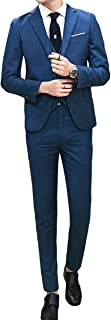 Cloud Style(クラウド スタイル) メンズ 春 レジャーカジュアルスーツ スタイリッシュ 二つボタン 細身シルエットフォーマルウェア サラリーマン/花婿 礼服 イギーリス風 スリーピーススーツ(ダークブルー,XL)