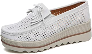 Women's Slip On Loafers Platform Wedge Shoes Round Toe Premium Leather Casual Comfort Penny Moccasins