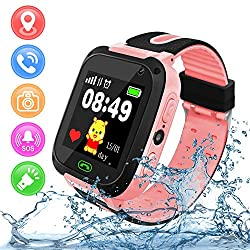 Kids Smart Watch for Boys Girls, Waterproof GPS Tracker Kids Smartwatch Phone with Camera Call Games Alarm Clock Music, Kids Digital Watch for Children Boys Girls School Supplies Learning Toy Pink