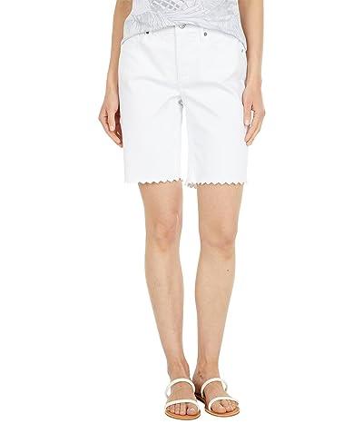NYDJ Ella Denim Shorts w/ Scallop Embroidery in Optic White