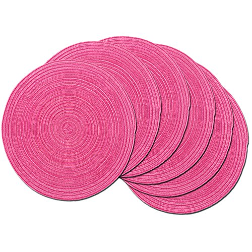 SHACOS Round Braided Placemats Set of 6 Cotton Round Place Mats 15 inch Washable Table Mats for Holiday Party (Hot Pink, 6)