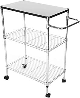 GXOK Multi-Function Cart Storage Rack,Wheeled Wooden Storage Rack, Multi-Layer Kitchen Supplies Storage Rack,Microwave Oven Rack [Ship from USA Directly]
