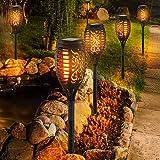 6er Set LED Solar Außen Lampen Erdspieß Strahler Dekor Stanzung Feuer Effekt Garten Steck Leuchten