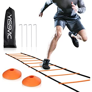 YISSVIC Agility Ladder and Cones 20 Feet 12 Adjustable Rungs Fitness Speed Training Equipment, 20 Feet Speed Agility 1 Carry Bags, 10 Cones, 4 Stakes, Basketball, Soccer, Football (Orange)
