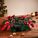 Britesta Adventsdeko-Kerzen-Kranz: Adventskranz mit roten LED-Kerzen, rot geschmückt (Weihnachtsschmuck LED-Beleuchtung) - 7