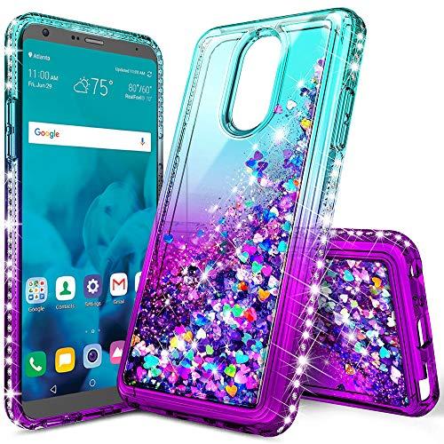 LG Stylo 4 Hülle, LG Q Stylus Hülle, Lovemecase Marmor Design Klar Bumper TPU Soft Case Gummi Silikon Skin Cover für LG Stylo 4 LG Q Stylus, Gradient Aqua/Purple