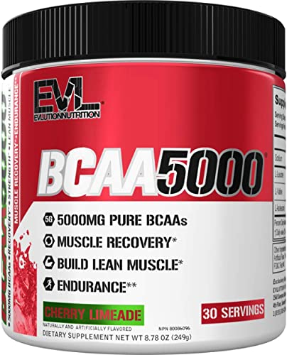 Evlution Nutrition BCAA5000 Powder 5 Grams of Branched Chain Amino Acids (BCAAs) Essential for Performance, Recovery,...