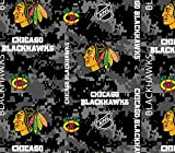 Chicago Blackhawks Fleece Blanket Fabric-Digi Camo Design-Sold by The Yard
