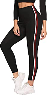 FITG18® Gym wear Leggings Ankle Length Free Size Workout Trousers | Stretchable Striped Jeggings | Yoga Track Pants for Gi...