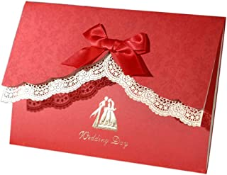 12 Pack Red Wedding Invitations Cards with Envelopes Laser Cut Lace Invitations