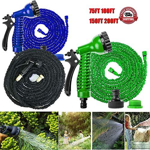 Alittle 200FT Gartenschlauch Dicker erweiterbarer Schlauch Rohr Hochleistungsflexibler auslaufsicherer Schlauch mit Messingbeschlag für 3/4