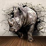 JFSZSD Fotomural Vinilo para Pared Rinoceronte Ciudad Fotomurales Decorativos Pared 3D GREAT ART Póster Sala de Estar Dormitorio TV Fondo 350CMx250CM