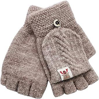 Miada fehlerlose 1-3 Jahre alte Jungen und M/ädchen Winterhandschuhe Cartoon Kaninchen Halbfinger Flip Handschuhe Warm Strick Handschuhe DP