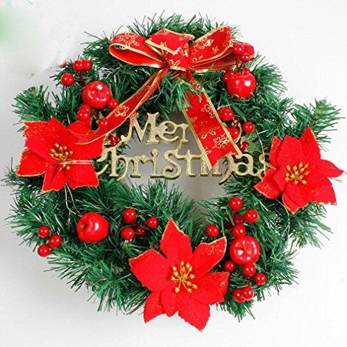 Couronne de bricolage de Noël 40CM Couronne fine Décoration de Noël 4 couleurs en option , red