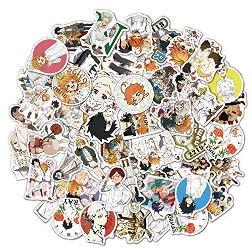 DONGJI Anime prometido Neverland Equipaje Trolley Maleta Caja para portátil Bolsa Graffiti Pegatinas 50 Piezas