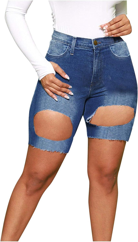 HUOJING Short Tight Jeans for Women Ripped Denim Shorts Solid Color Skinny Capri Shorts Oversized Summer Shorts,Blue,M