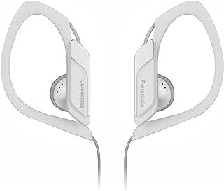Panasonic Sports Clip Earbud Headphones RP-HS34-W (White) Water Resistant, Tough, Durable, Adjustable Ear Clip, Ultra Light