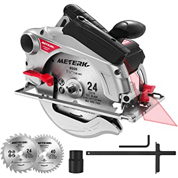 Circular Saw, Meterk Circular Saw (1500W 4700RPM), Cutting 65mm (90º), 45mm (45º), 2 Saw Blades 24T + 40T: 185 * 20 * 2mm, Laser Guide, Double Safety Switch, Ideal for Wood, Plastic, Soft Metal