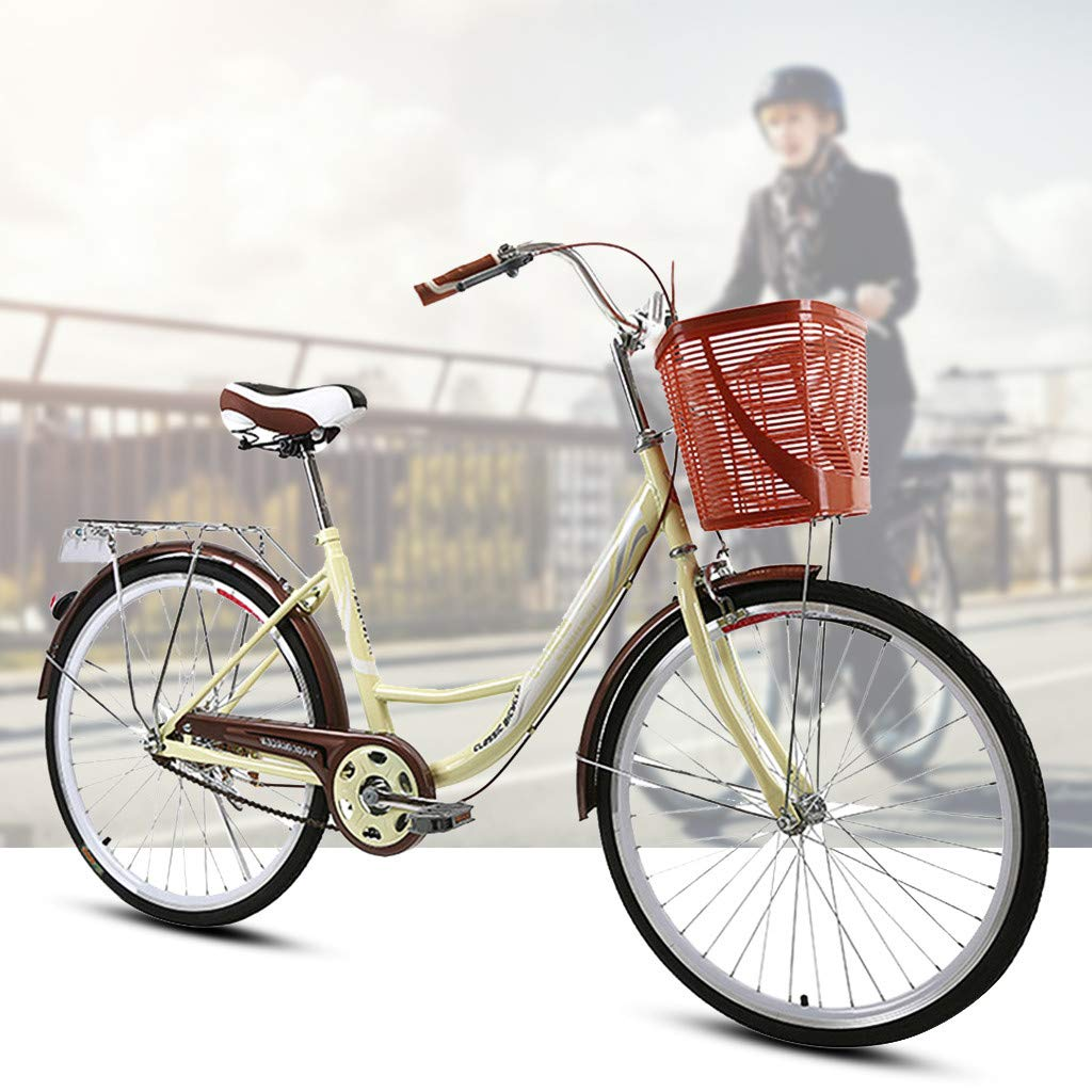 GFTA 【US Spot】 Womens Beach Cruiser Bike-24 Inch Unisex Classic Iron Bicycle with Back Seat Retro Bicycle Unique Art Deco Scooter,Road Bike,Seaside Travel Bicycle,Single Speed 24-inch Wheels