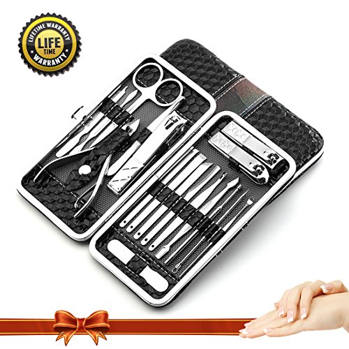 Manicure Pedicure Set Nail Clippers,18 Piece Stainless Steel Manicure Kit, Professional Nail Tools- Perfect Gift For Women,Men .Grooming Kit Nail Scissors With Portable Travel Case