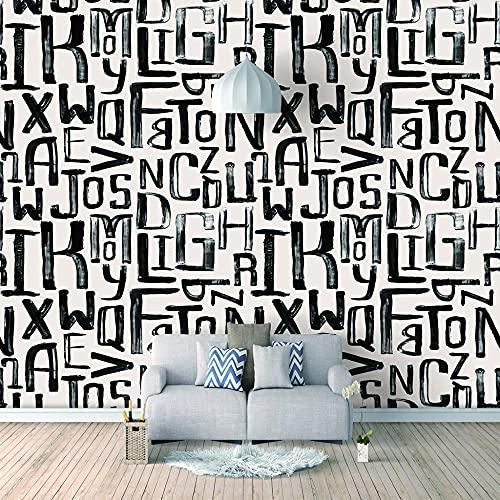 Papel Pintado 3D Foto Murales Letras negras,Papel Tapiz Fotográfico Premium No-Tejido Mural Apto para Sala de Estar Dormitorio Decoración de la Papel Tapiz 200x150 cm - 4 tiras